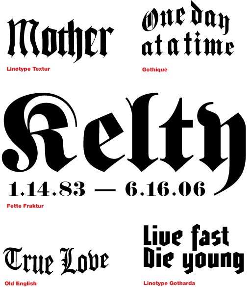 Blackletter tattoo letters